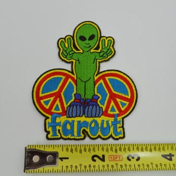 Alien Patch Peace Sign Hippie Soft Grunge Embroidered Groovy Space Far Out Iron on DIY Jacket Backpack Denim Funky