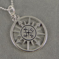 Sterling Compass Necklace - Nautical Theme - World Traveler - Graduation Gift