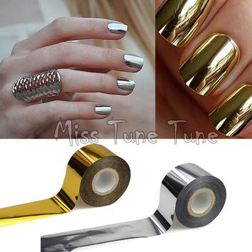 1 Rolls 120x4cm Metallic Mirror Effect Chrome Nails Gold Silver Nail Art Transfer Wrap Foil Glitter Sticker Shiny Tips