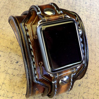 Apple Watch Cuff, apple watch strap, Brown watch strap,  Leather strap for Apple watch band for 38 or 42mm models