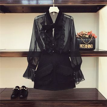 Women Two Piece Sets 2018 Spring Velvet Stitching Perspective Horn Sleeve Black Blouse + Tweed Skirt Suits Girl Students Outfits