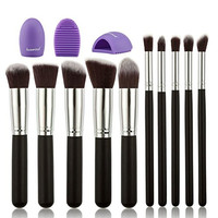 Huewind 10pcs Premium Synthetic Kabuki Makeup Brush Set Cosmetics Foundation Blending Blush Eyeliner Face Powder Brush Makeup Brush Kit (Black/Silver)