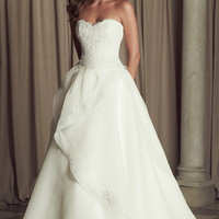 French Alençon Lace and Organdy Wedding Dress Gown 4463