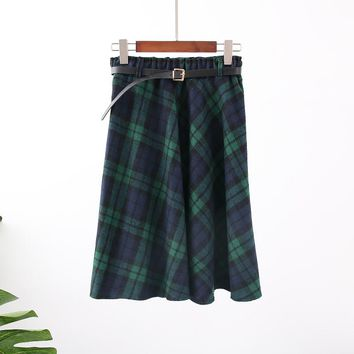 Women's Green Plaid Skirt Long A-Line Skirt Wool Tartan