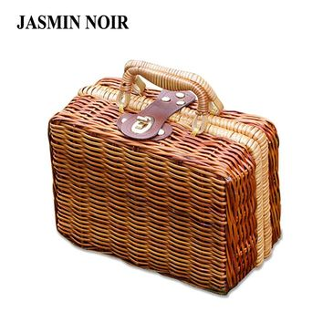 Fashion New Brand Straw Wood Women Handbag