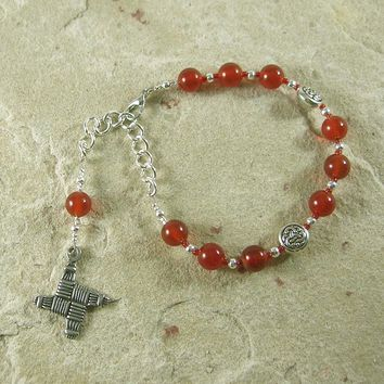 Brigid Prayer Bead Bracelet in Carnelian:  Irish Celtic Goddess of Poetry, Crafts, Healing