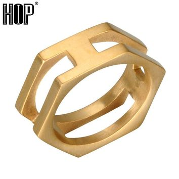 HIP Punk Gold Black Color Titanium Stainless Steel Geometric Charm Hexagonal Rings for Men Jewelry