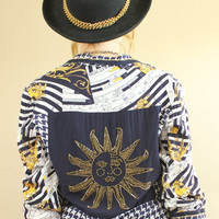 SALE - 80s/90s - Houndstooth - Gold Beaded - Horoscope Calendar - Celestial Sun - Back Patch - Cropped Jacket