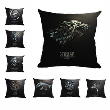 Throw Pillow Case 45*45cm Game Of Thrones Cushion 9 Family Clan Insignia Decorative Pillow For Car Seat Sofa Chair No Filler