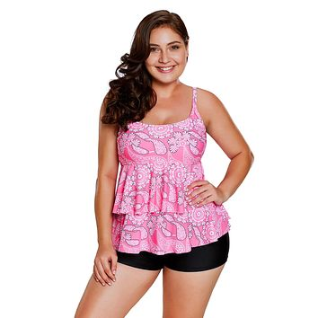 Chicloth Pink Paisley Print Ruffle Layered Tankini and Short Set