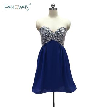 Royal Blue Sexy  Short Chiffon Bridesmaid Dresses Sleeveless Empire Waist Sequins Cheap A-Line Wedding Party Dresses BND08