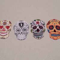 Sugar Skulls- set of four colorful sugar skull stickers