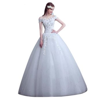Sample Custom Simple Wedding Dress Boat Neck Bridal Gowns