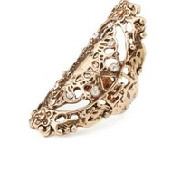 Gold Burnished Filigree Cocktail Ring by Charlotte Russe