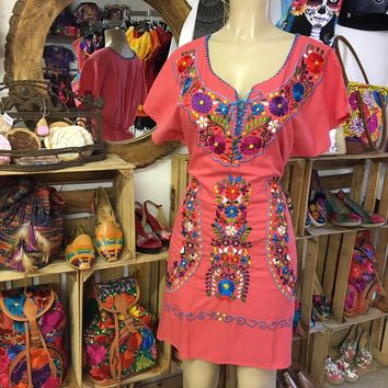 Mexican Embroidered Mini Dress Coral