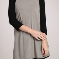 Loose Fit Raglan Tunic Tee - Black and Beige Contrast Flowy Oversized Tunic Top Gifts For Her Christmas Gifts For Women Raglan Style
