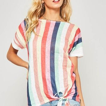 Rainbow Striped Twist Short Sleeve Top
