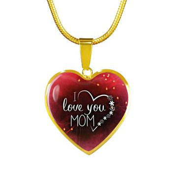 I Love You Mom Gold Luxury Heart Charm Necklace