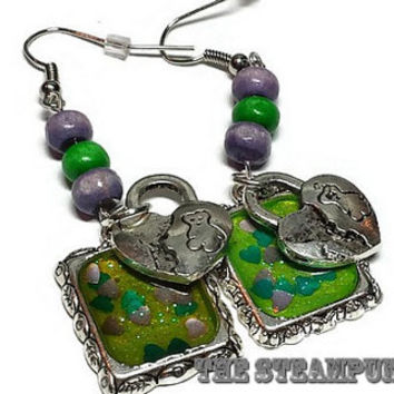 Purple and Green Heart Charm Earrings