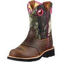 Ariat Youth Fatbaby Cowgirl Rough Brown, Pink, & Camo Boots