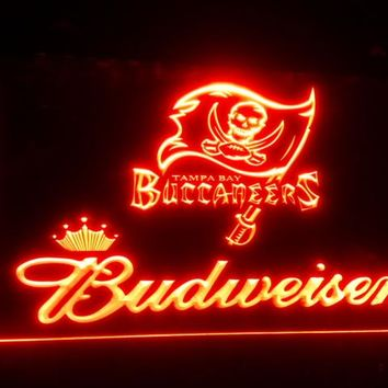 b-159 Tampa Bay Buccaneers Budweiser beer bar pub club 3d signs LED Neon Light Sign man cave