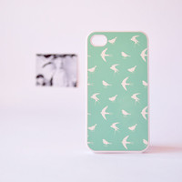 iPhone 4 Case - iPhone 4s Case - Mint Green iPhone Case - Bird iPhone 4 Case - Bird Pattern in Mint Green - Gadget Cases