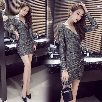 Long sleeve Deep V-neck Irregular Sequins slim package hip Party Dress