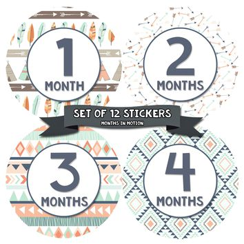 Gender Neutral Monthly Baby Stickers - Baby Month Sticker Set of 12