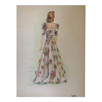 1960s Floral Dress Watercolor Painting