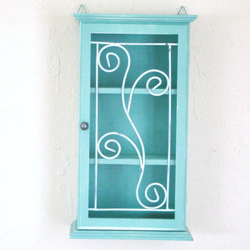 Revamped and Upcycled Jade 3 shelf wall mount display case