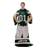 New York Jets NFL Uniform Comfy Throw Blanket w- Sleeves