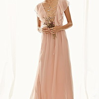 Ruffled Chiffon Maxi Dress
