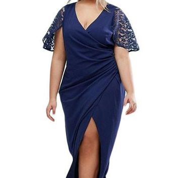 Chicloth Plus Wrap Front Maxi Dress with Lace Sleeves