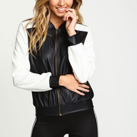 White Leatherette Quilted Bomber Jacket