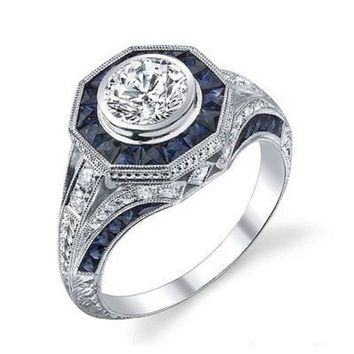 Womens Antique Art Deco .925 Sterling Silver Blue Sapphire & CZ Ring