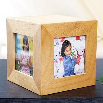 Free Engraved Personalized Wooden Picture Cube Custom