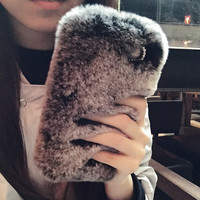 Rabbit Fur Case for iPhone 7 7Plus & iPhone se 5s 6 6 Plus Best Protection Cover +Gift Box