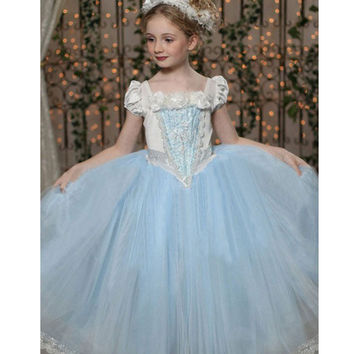 2-7Years Girls Cinderella Dresses Princess Dress+Shawl Fairy Tail Toddler Baby Wedding Party Sheer Dress Cosplay Costume Clothes