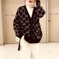 gucci women fashion classic gg letter long sleeve v neck knit cardigan sweater coat
