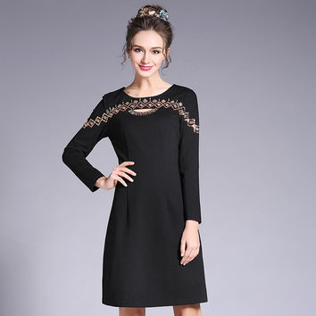 Long Sleeve Black Dress Plus Size Women Cutout Beaded Sequin Party Dresses l to 5xl