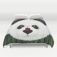 The Panda Bear & His Visitor Duvet Cover by One Artsy Momma