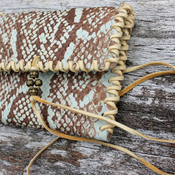 Costa Rican Boa Snake Skin Wallet, Buffalo Leather, Deer Leather Lace, Single Pocket Fold Over, Hand cut and Stitched Wrap Around