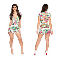 floral print bandage jumpsuits hollow out elegant sexy club jumpsuits & rompers overalls bodysuit women outfit