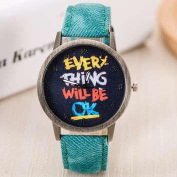 Vintage Jeans Strap Watch for Women Leather Everything Will BE OK Watch Fashion Casual Wrist Watch Relogio Feminino