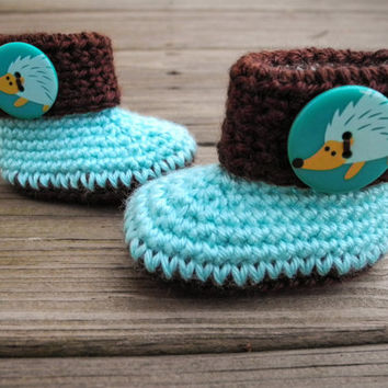 Crochet Baby Booties Hedgehog Mint and Brown African - Crochet Baby Boots - Baby Shoes - Baby Clothes - Gender Neutral - Blue and Brown
