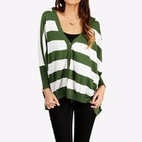 SALE-Green/White Striped Oversize Cardigan