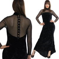 Vintage 90s goth dress gothic boho maxi dress velvet party dress body con sheer net dress boho party dress net sleeves wiggle dress M L