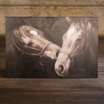 Oil Painting - Black & White Kissing Horses