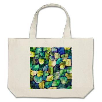 Contemporary Green Pattern Large Tote Bag