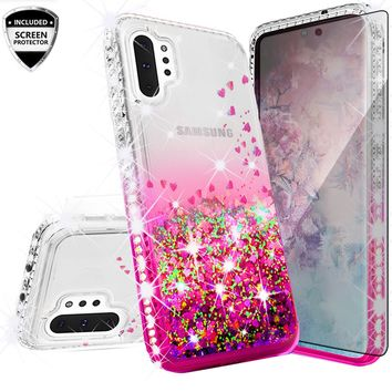 Samsung Galaxy Note 10+ Case,Galaxy Note 10 Plus Case Liquid Glitter Phone Case Waterfall Floating Quicksand Bling Sparkle Cute Protective Girls Women Cover for Galaxy Note 10 Plus W/Temper Glass - Hot Pink
